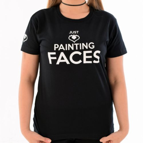 Female Crew Neck T-Shirt ~ Black Just Painting Faces
